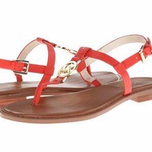 Michael Kors Gold Logo MK Sandals Coral